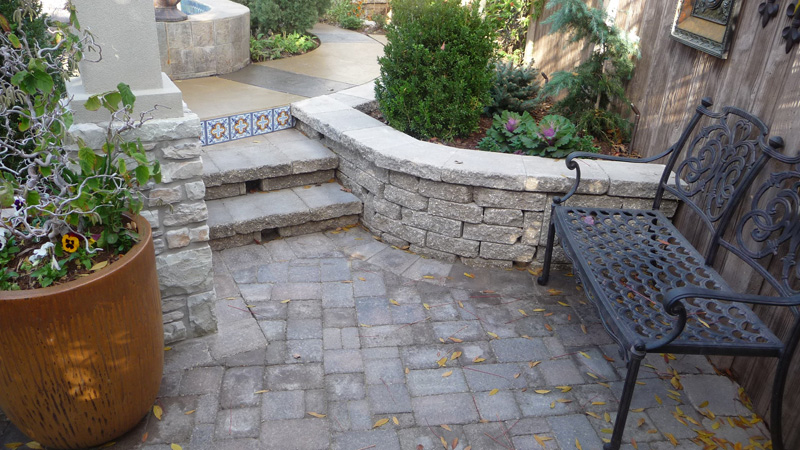 patio pavers and retaining wall