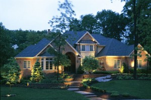 low voltage landscape lighting scene in Lexington