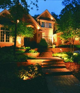 landscape lighting in Mustang