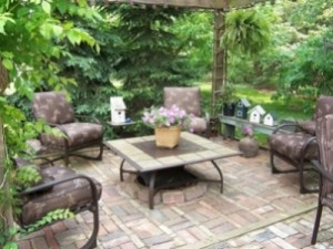 Outdoor Patio Design Brick Pavers Pink